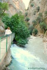 Pasarela sobre el río por la que se accede al cañón.