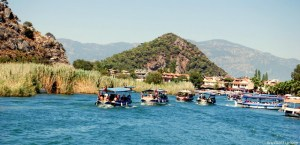 Boats crossing the river Dalyan