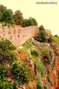 Detalle de las murallas del castillo de Alanya