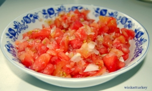 Chopped tomatoes and grated onion