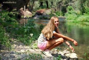 Refrescándonoe en el rio Melendiz