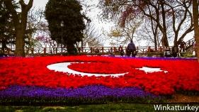Parterre representando la bandera turca en Emirgan